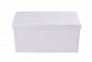 Double White Leather Ottoman
