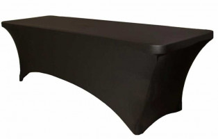 6 Foot Black Spandex Table with Cover