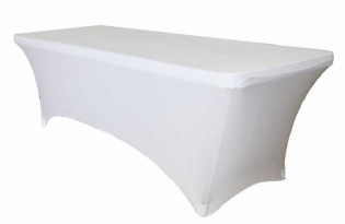 6 Foot White Spandex Table with Cover